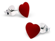 Pair of Small Red Love Heart Sterling Silver Stud Earrings (0.7cm x 0.7cm) Supplied in Gift Bag