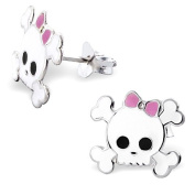 925 Sterling Silver Pink Bow and White Skull & Crossbones Stud Earrings - Come with a FREE gift pouch (Skulls measure 12 x 11 mm) with Epoxy Colour Retro Cute Childrens Pink Bow