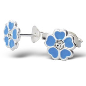 Pair of Small Blue Flower (with Clear Crystal Stone) Sterling Silver Stud Earrings (0.8cm x 0.8cm) Supplied in Gift Bag