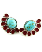Jewellery Of The Planet Turquoise Fan Shaped Stud Earrings With Red Lacquer Insets For Pierced Ears