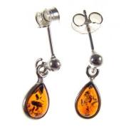 BALTIC AMBER AND STERLING SILVER 925 DESIGNER COGNAC TEARDROP EARRINGS JEWELLERY jewellery