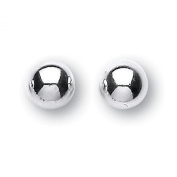 Silver polished 6mm ball stud earrings