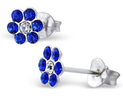 Pair of Small Sparkly Flower Sterling Silver Stud Earrings With Sapphire Blue Crystal Stones (0.6cm x 0.6cm) Supplied in Gift Bag