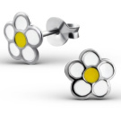 Pair of Small Sterling Silver White and Yellow Flower Stud Earrings (0.8cm x 0.8cm) Supplied in Gift Box