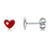 Miore Childrens Sterling Silver Red Enamel Heart Stud Earrings MSM100EK