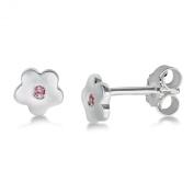 Miore Childrens Sterling Silver Flower Pink Zirconia Stud Earrings MSM103EK