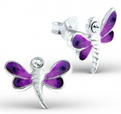 Pair of Small Purple Dragonfly Sterling Silver Stud Earrings with Clear Crystal Stones (1.4cm x 1.1cm) Supplied in Gift Bag