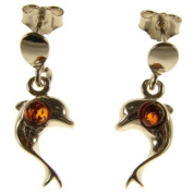 Baltic amber and sterling silver 925 designer cognac dolphin stud earrings jewellery jewellery