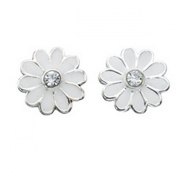 Silver White daisy Stud earrings with crystal