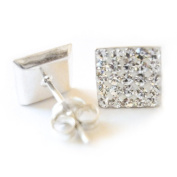 Bling Ladies Sterling Silver 8mm Square Micro Pave. Crystal Stud Earrings - White/Clear