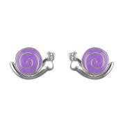 Kids Earrings Purple Snails Childs Earrings Sterling silver Earrings for children