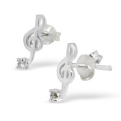 Pair of Small Musical Note / Treble Clef Sterling Silver Stud Earrings (1.2cm x 0.5cm) Supplied in Gift Bag
