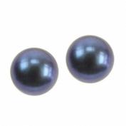 Pearl Dark Stud Earrings, Sterling Silver