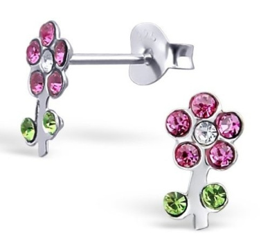 Pair of Small Sterling Silver Pink and Green Flower Stud Earrings with Sparkly Crystal Gemstones (0.9cm x 0.5cm) Supplied in Gift Box