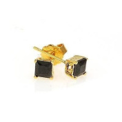 Simply Glamorous Jewellery And Gifts Shop - 18ct Gold Filled Stud Earrings Black Cubic Zirconia 6X6mm