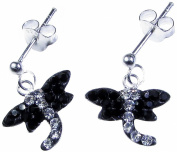 1g Solid .925 Sterling Silver Dragonfly Crystal Stud Earrings with Anti-Tarnish E-Coat Protection - FREE GIFT BOX