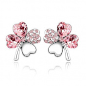 Pink Crystal Four Leaf Clover Love Heart Silver Plated Earring