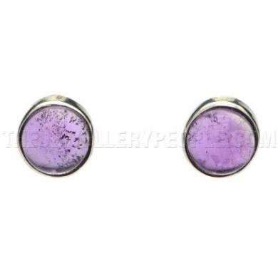 Amethyst & Silver Stud Earrings