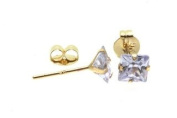 Birth Stone Jewels 9ct Yellow Gold 3mm Square June Light Amethyst C Z Set Stud Ear Rings, Four Claw Setting