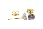 Birth Stone Jewels 9ct Yellow Gold 3mm Round June Light Amethyst C Z Set Stud Ear Rings, Four Claw Setting