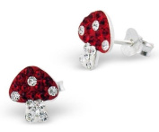 Pair of Small Sparkly Mushroom / Toadstool Sterling Silver Stud Earrings With Red and Clear Crystal Stones (0.9cm x 0.9cm) Supplied in Gift Bag - Stocking Fillers