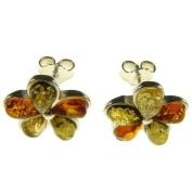 Baltic amber and sterling silver 925 designer multi-coloured flower leaf stud earrings jewellery jewellery