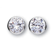 Silver and white cubic zirconia 8mm rubover set stud earrings