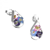 Silver stud Earrings made with real mixed flowers - Teardrop - Includes giftbox