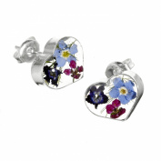 Silver heart stud earrings made with real flowers - includes giftbox