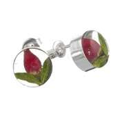 Sterling Silver stud earrings with real roses - round + free giftbox