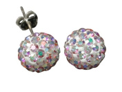9ct Yellow Gold 8mm Ladies' Rainbow AB Crystal Ball Stud Earrings