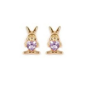 Simply Glamorous Jewellery And Gifts Shop - 18ct Gold Filled Stud Earrings Purple Heart Cubic Zirconia Children