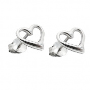 925 Solid Sterling Silver Open Heart Shaped Stud Earrings - Gift Boxed - Super Stocking Filler for Christmas - For the love of your life