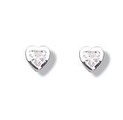 Jo for Girls Silver White Cz Heart Stud Earrings