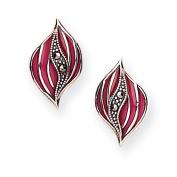 Goldmajor Marcasite & 925 Sterling Silver with Pink Enamel Leaf Shape Stud Earrings