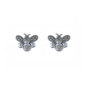 Esse Marcasite Sterling Silver Marcasite Bumble Bee Stud Earrings