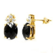 Simply Glamorous Jewellery And Gifts Shop - 18ct Gold Filled Stud Earrings With Black Onyx Cubic Zirconia