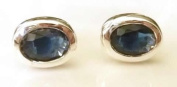 Stonesandsilver, Sterling Silver,Oval Lab Sapphire Studs, 7mm x 5mm, Oval Stones