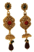Marron, Green and White Stone Studded Umbrella Earrings with Bea