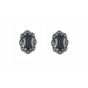 Esse Marcasite Sterling Silver Oval Cut Black Spinel and Marcasite Classic Stud Earrings