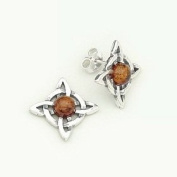 BALTIC AMBER & STERLING SILVER CELTIC EARRINGS