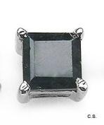 Jewellery-Schmidt-1 men's earring / earrings square Black Sapphire Sterling Silver Rhodium