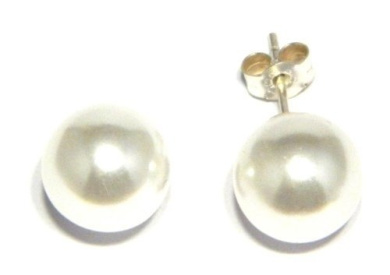 10 mm Simulated Pearl Stud - Genuine 925 Sterling Silver