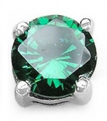 Jewellery-Schmidt-Men's Jewellery Earrings Silver Cubic Zirconia Green Plug