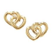 9ct Stud Earrings 9ct Double Heart Earrings