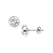 9ct White Gold Round Rubover Stud Earrings set with 6mm Cubic Zirconia- 6mm