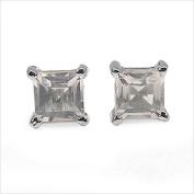 Jewellery-Schmidt-Rose quartz earrings 925 Sterling Silver Rhodium square-0.70 carat
