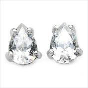 Jewellery-Schmidt-Drops of white cubic zirconia stud earrings Silver Rhodium-925-1, 42 carats