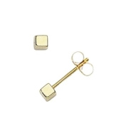 9ct Yellow Gold Cube Stud Earrings