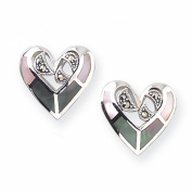 Sterling Silver Marcasite And Pink Mother Of Pearl Heart Shape Stud Earrings